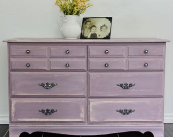 Sweet femininely rustic 6 drawer dresser mostly solid wood chalk painted in Annie Sloan's Henrietta with pure white & paris grey undertones