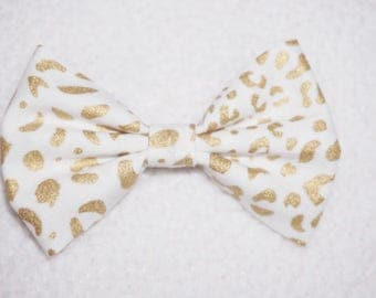 Gold Leopard // baby bow, toddler bow, headband