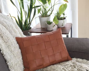 Genuine Leather Lumbar Throw Pillow, w/ Basketweave Front, and Fabric Back, Cognac/Natural.