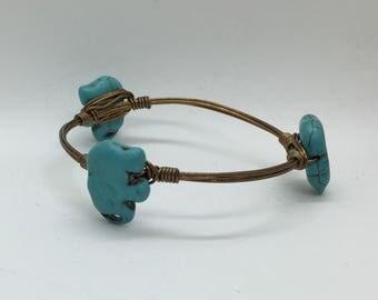 Turquoise Elephant Bangle - Copper - Bracelet - Handmade - Gift - Jewelry