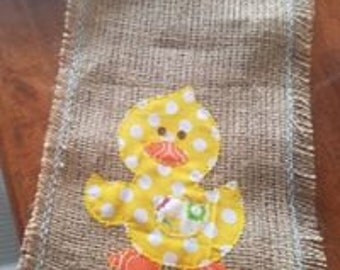 Easter Duck Burlap table runner