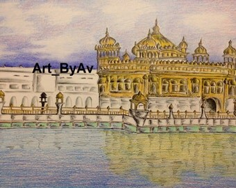 A4, 21 x 29.7 cm, Original, art, drawing, Golden Temple, temple, gurdwara, India, will be signed on the front, wonder of the world, punjab