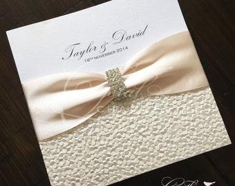 "Elegant Bling ""Taylor"" Wedding Invitation - Wedding Invitation Square SAMPLE"
