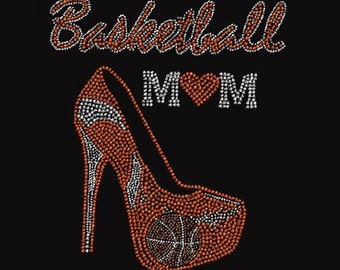 Basketball Mom Stiletto Rhinestone Iron on Transfer                                         GSAY
