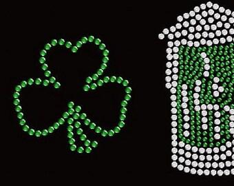 Irish Beer Rhinestone Iron on Transfer           PNUS