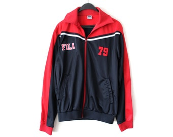 Vintage Fila Jacket 90's Black Fila Sweatshirt Fila Windbreaker Large Fila Track Top Rare Fila Sweater Embroidered Fila Logo Hip Hop Fila
