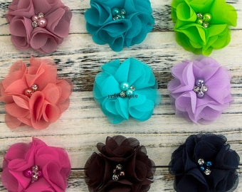 Vintage Artificial Chiffon Flower+Rhinestones Pearl For Girls Hair Accessories Fabric Flowers For Headbands DIY Flower Supplies 2""