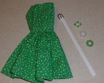 Set of OOAK handmade dress, jewelry, belt for Fashion royalty, Barbie, Silkstone
