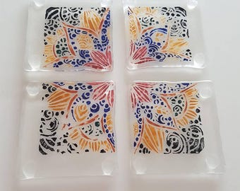 Fused Glass Coasters - Hand Painted - Handmade
