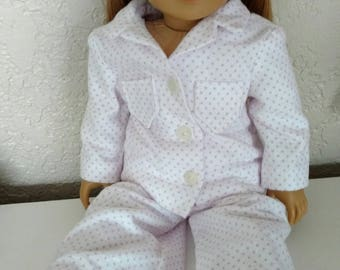 "SALE ""Jill"" Button Up Pajama Set in Pink Dot Flannel for 18"" Dolls"