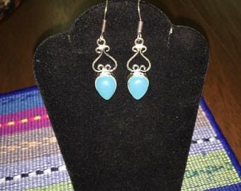 Blue chalcedony upside down teardrop dangle upside down heart silver earrings