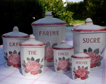 "Canisters - earthenware of Sarreguemine - Digoin-""La Rose"" - 1950-flour - sugar - coffee - the - spices - pepper"