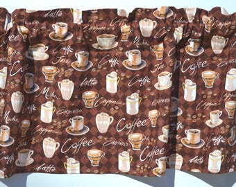 Coffee, Latte, Caffe, Cappuccino, Expresso, Mocha, Cafe, Java, Valance, Window Valance, Window Treatment, Window Topper, New