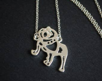 Silver tone  bull dog necklace