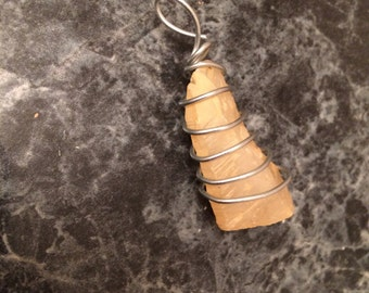 Steel Wrapped Crystal Pendant #1