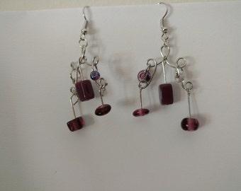 Unique purple beaded pierced earrings