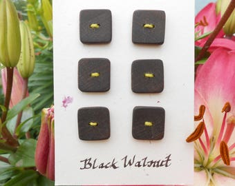 Black walnut wood buttons/wooden buttons/black buttons/dark brown buttons/square buttons/earthy buttons/sustainable buttons/rustic buttons