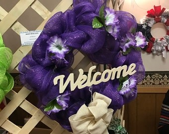 Purple Spring Welcome Wreath