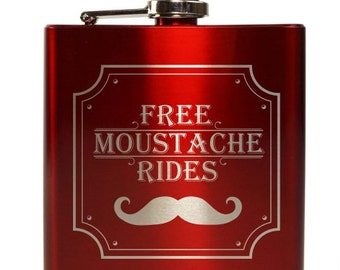 Free Moustache Rides // Gift for Him // Funny Flask // Hip Flask for Men // 21st Birthday Gift // 7 oz