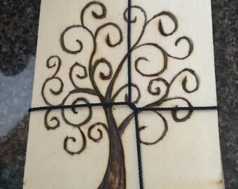 Whimsical Tree coasters set of 4