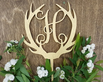 Gold painted Antler cake Topper