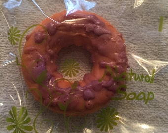 Orange Donut With Purple Frosting Soap