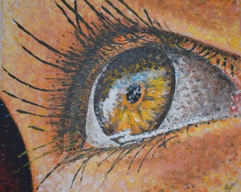 "Painting Eye 24"" Original handmade Acrylic painting on canvas, Modern Art by Mederos."
