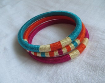 "set of 3 thread wrapped bangles ""Jaadu"" (Magic)"