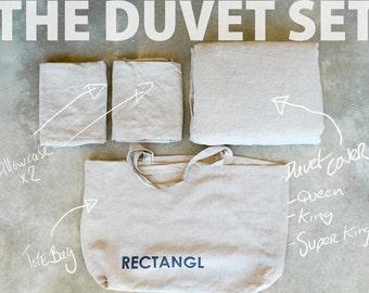 Rectangl Natural Duvet Set 100% Linen