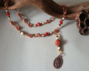 Wonderful copper chain with Buddha pendants-pure copper with coral