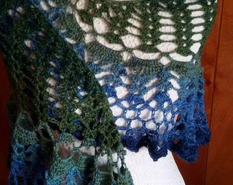 Shawl in pure wool thin, suitable for all seasons, in shades from blue, turquoise, green, perforated pattern crochet