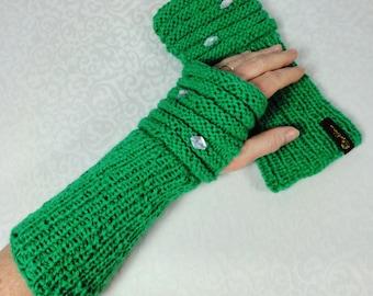 Wrist warmers green with Rhinestones, arm warmers,