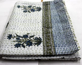 Hand made kantha quilt vintage twin size throw hand stitched flower Print 60x90''  kantha bedcover Throw#2