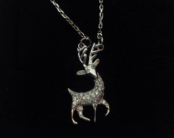 Shape deer with stones silver necklace