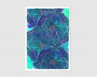 Blue Flower Illustration Greeting Card