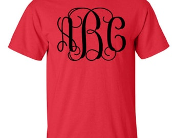 Personalized Monogram Unisex Tshirt with Vine 1 Font