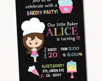 Bakery invitation, Bakery Invite, Bakery Birthday Party, Cupcake Invitation, PRINTABLE