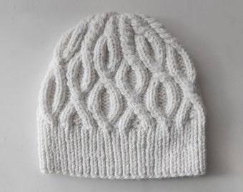 Women's Knit Hat / White Knitted hat / Handmade hat
