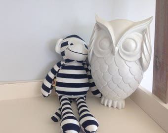 Navy Blue and White Cheeky Monkey Teddy// 32cm Teddy// Monkey Soft Toy// Kids Teddy