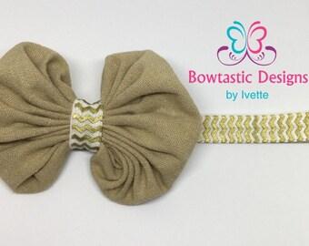 Baby Headband, Baby Hair bow, Baby Girl Headband, Elastic Headband, Fabric Bow
