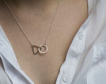 Handmade sterling silver interlocking triangle and circle nacklace