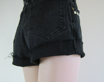 Custom High Waisted 80's 90's Black Denim Cut Off Jeans Shorts