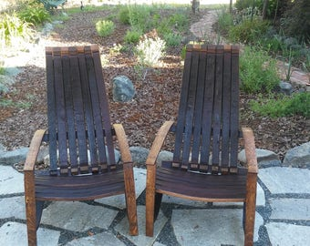 Oak Barrel Adirondack Style Chair