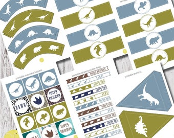 dinosaur party printables, party templates, digital download