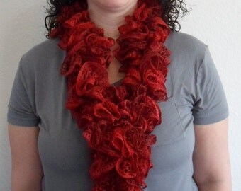 Red Metallic Handmade Scarf Made in the USA