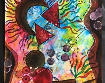 I am Strong- Original, handmade mixed media painting.