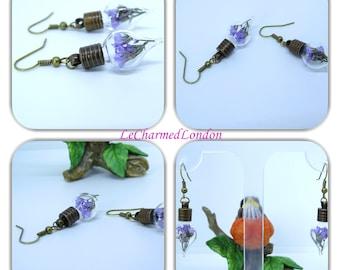 Teardrop Earrings, Terrarium Earrings, Botanical Earrings, Real Flower Earrings, Bronze Earrings,botanical jewellery, Gift for Women