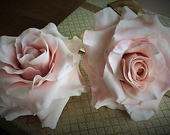 Two large blush pink gumpaste roses. Hand crafted, wedding, birthday cake topper.