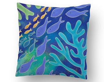 Ocean Life Coastal Beach Throw Pillow Cover
