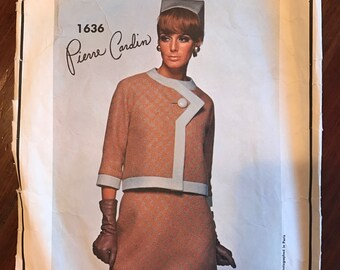 Vintage Vogue Paris Original Pattern - Suit and Blouse - Pierre Cardin -Size 12, Bust 32, Hip 34